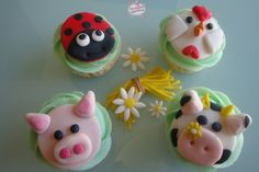 Cupcakes animales de la granja, farm animals cupcake