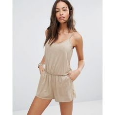 Surf Gypsy Faux Suede Romper ($58) ❤ liked on Polyvore featuring jumpsuits, rompers, stone, v neck romper, beach romper, surf gypsy, tall romper and beach rompers