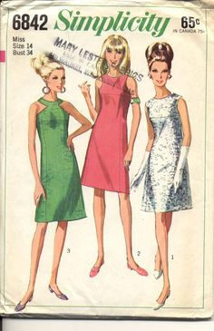 Simplicity 6842 Vintage Sewing Pattern Misses Dress Size 16 Bust 36 Cut for sale online Retro Mode, Vintage Mode, Vintage Girls, Vintage Outfits, Vintage Dresses, Vintage Dress Patterns, Clothing Patterns, 1960s Fashion, Vintage Fashion