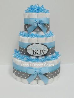 PLEASE READ STORE ANNOUNCEMENT BEFORE PLACING AN ORDER:    Baby Boy Blue And Gray Diaper Cake  Would make a wonderful gift for new baby or