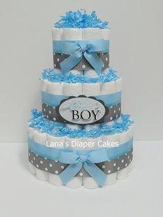 Bebé niño azul y gris de pañales torta bebé por LanasDiaperCakeShop