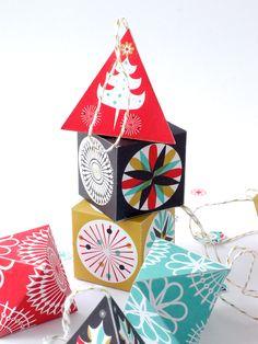 Printable DIY paper Christmas ornaments. Scandinavian Style