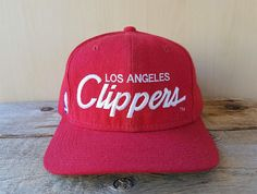 b283191d3b2 Vintage 90s Los Angeles CLIPPERS Sports Specialties Script Snapback Hat  Official NBA The Pro Baseball Cap Licensed Embroidered Red Ballcap