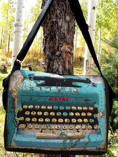 "Laptop Bag - ""Royal Canadian Correspondent"" - Original Artwork Designed and Hand Made by Billie Anderson in Bigfork Montana USA"