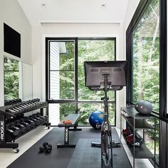 10 Home Gym Ideas to Help You Create the Ultimate Workout Space — Good Housekeeping Home Gym Basement, Home Gym Garage, Diy Home Gym, Gym Room At Home, Home Gym Decor, Basement Workout Room, Home Office, Chill Lounge, Dream Home Gym