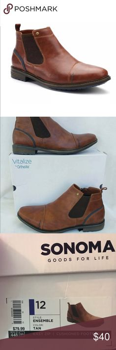 Sonoma Ensemble Tan Boots, Size 12, Goods for Life PRODUCT DETAILS Classic meets contemporary in these men's SONOMA Goods for Life boots. The contrasting heel underlay adds unique appeal to this handsome Chelsea silhouette. Sonoma Shoes Boots