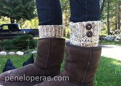 Free pattern. Ravelry: Boot Cuffs pattern by Carrissa Knox