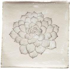 Botanical Etching 5 - Botanical Etchings - Hand Painted Tiles