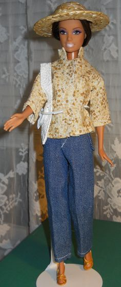 Handmade Barbie cotton Stand up Collar Top and by AuntieLousCrafts, $9.00