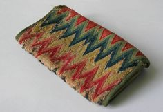 18th Century Antique American Flame Stitch Purse
