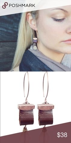 """Copper Leather Earrings Recycled leather, copper ear wire w/vintage copper caps and dusty salmon glass drops. Approx L 2.5""""  *Jewelry Prices are Firm Boutique Jewelry Earrings"""