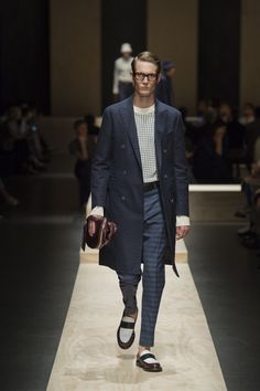 Blue cotton-linen double-breasted coat, oversized white and blue checked cotton jacquard sweater, blue horizontal striped wool-silk-linen trousers, three-tone mocassins, black drummed calfskin belt, calfskin bag with macro zip #canaliss15 #ss15 #mfw