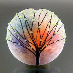 Pikalda Handmade lampwork 1 glass focal bead dot by veradacraft, $45.00
