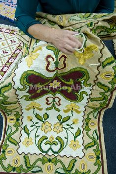 Famous Arraiolos tapestry, handmade in Alentejo. Portugal