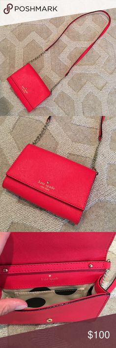 "Kate Spade Cedar Street Cami This purse has been used twice and is in like new condition. I upgraded to an iPhone 6S Plus and it does not fit. Note: will not work with Plus sized iPhones. In the color Cherry Liqueur. Gorgeous color. 4.5"" h x 6.2"" w x 1"" d. Strap 26"". 14K plated hardware. Cross hatched leather with matching trim. Snap closure. Strap is detachable. Smoke free home. No trades, holds, outside sales, or lowball offers. kate spade Bags Crossbody Bags"