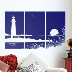 Great living room art: lighthouse, beach, sunset! Wall decal CozyWallArt.com