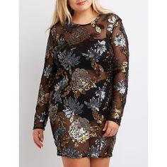 Plus Size Sequin Bodycon Dress Plus Size Bodycon Dresses, Plus Size Cocktail Dresses, Long Sleeve Floral Dress, Plus Size Women, Plus Size Outfits, Plus Size Fashion, Cold Shoulder Dress, Sequins, Charlotte Russe