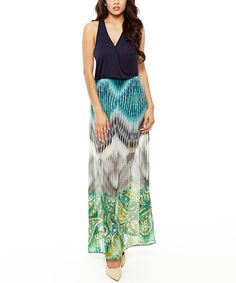 Look what I found on #zulily! 42POPS Navy Ikat Maxi Dress by 42POPS #zulilyfinds