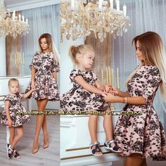 Mommy Daughter Dresses, Mommy And Me Dresses, Mother Daughter Matching Outfits, Mother Daughter Fashion, Mommy And Me Outfits, Mom Dress, Mom Daughter, Little Girl Dresses, Baby Dress