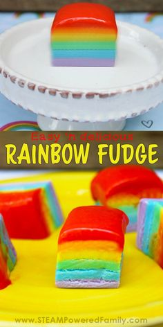Easy rainbow fudge recipe that looks amazing, tastes delicious, and is so simple… Purple Food Coloring, Gel Food Coloring, Fudge Recipes, Dessert Recipes, Desserts, Kid Recipes, Baking Recipes, Fun Snacks For Kids, Kids Meals
