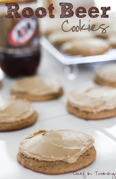 Perfect for summer. If you love Root Beer, you are going to LOVE these cookies! My Matt LOVES root beer. I have made him root beer cake, but not cookies. Cookie Desserts, Just Desserts, Cookie Recipes, Delicious Desserts, Dessert Recipes, Yummy Food, Cookie Ideas, Dessert Ideas, Yummy Recipes