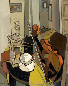 Clément-Serveau (French, 1886-1972), Nature morte au violon et bouteille. Oil on canvas, 81 x 65 cm.