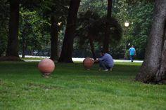 Terracotta Sphere sound modules by Architettura Sonora in Villa Borbone