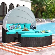 Sol 72 Outdoor Brentwood Patio Daybed with Cushions Canopy Outdoor, Outdoor Pool, Outdoor Decor, Outdoor Seating, Outdoor Living, Outdoor Balcony, Outdoor Patios, Outdoor Projects, Daybed Canopy