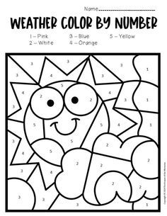 Color by Number Weather Preschool Worksheets are an excellent way to introduce weather concepts and practice number recognition with little kids! These no prep printable worksheets are great for… Weather Activities Preschool, Color Worksheets For Preschool, Weather Worksheets, Summer Worksheets, Preschool Colors, Numbers Preschool, Free Preschool, Kids Learning Activities, Preschool Printables