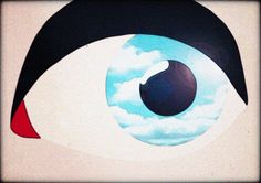 """Raphaëlle Martin, animated tribute to René Magritte's """"The False Mirror"""" (1928)"""