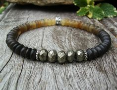 Men's Ombre Bracelet, Black Horn Beads, Faceted Pyrite, Rustic Unisex Jewelry, Casual Surfer Yoga Southwest Stretch, Gift Idea for Men