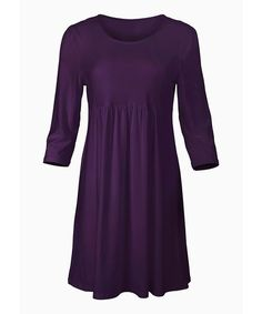 Another great find on #zulily! Purple Three-Quarter Sleeve Dress - Plus Too #zulilyfinds