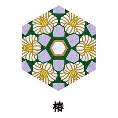 六角形のローズウィンドウ 日本の四季を彩る花のデザイン by Asako Hirata
