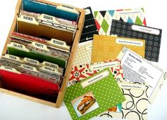 Rezepte-Box mit bunten Karteikarten
