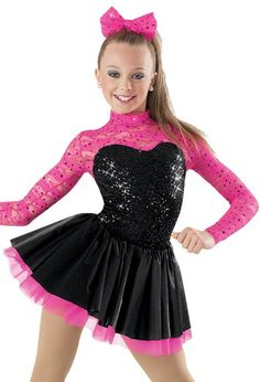 "Black Sequined Bodice and Skirt with Pink Lace Sleeves and Lace Bow - ""Wanna Dance With Somebody"""