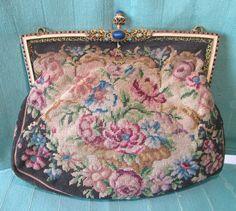Vintage Genuine Petit Point PURSE – Jeweled Filigree Frame and Clasp, Austria #EveningBag