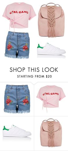 """""""girl gang"""" by arlem-cruz ❤ liked on Polyvore featuring River Island, adidas and T-shirt & Jeans"""