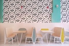 Inside Mr Big Stuff, a new restaurant at The Grove, No. 87 Juta Street, Braamfontein, Johannesburg. More at http://10and5.com/2015/06/19/oh-wow-custom-sneakers-vibrant-studio-prints-and-mr-big-stuff/