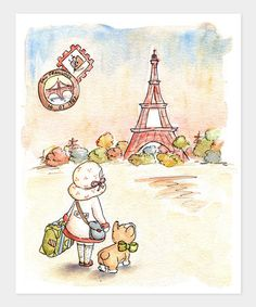 Take a look at this Girl Paris Postcard Print by LoxlyHollow on #zulily today!