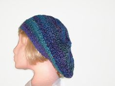 Crocheted Slouchy Beret in Purple, Green, Blue & Teal. Hat, Tam, Fashion Accessories.Winter warmers,
