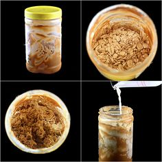 Make overnight peanut butter oatmeal right in the peanut butter jar when the jar is close to empty.  Easy, delicious and no mess or clean up, just throw out the jar!  Several ways to make it rich or make it healthy, your choice.
