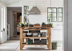 Hem_Swedish-rags-5 Cottage Interiors, Kitchen Cart, White Wood, Old Houses, Sweet Home, Entryway, Storage, Table, Inspiration