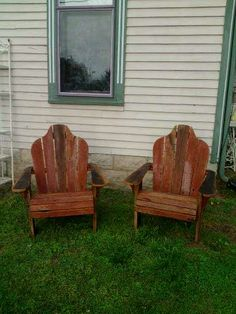 "A couple of ""barn red"" reclaimed barnwood Adirondack chairs - these continue to be a best seller."