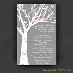 White Tree with Birdies Shower Invitations by PrettyWithInkInvites,