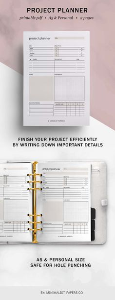 Break down your projects into manageable tasks so that you can work on them one step at a time. Keep control of all tasks, objectives, brainstorm ideas, track time, list down weekly tasks, due dates, and progress. #projectplanner #workplanner #businessplanner #goalplanners #projectorganizer Work Planner, Planner Dividers, Project Planner, Business Planner, Goals Planner, Business Goals, Printable Planner, Printables, Papers Co