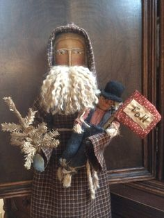 Primitive+Fall+Santa+Doll+with+Brown+Tree+and+by+leighsstonehouse