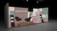 131 Tapeten paperwall  | Schöner Messestand für einen Hersteller von Tapeten.   Bei dem mittelgroßen Reihenstand werden die Tapetenmotive auf den rahmenlos bedruckten Leuch...