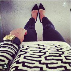 geo print sweater + skinnies + heels.