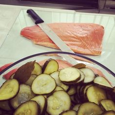 Salmon carvery with home-made pickled cucumbers