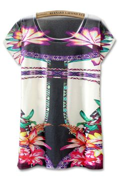 Eye-catching Floral Tee - OASAP.com